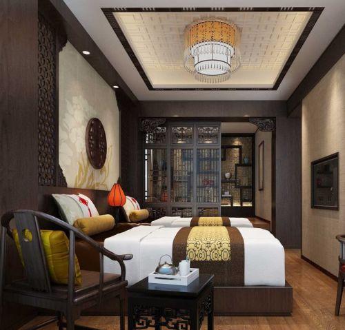 中式风格卧室天花板吊顶效果图