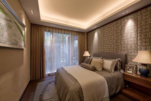 雅致中式风格卧室背景墙装修效果图
