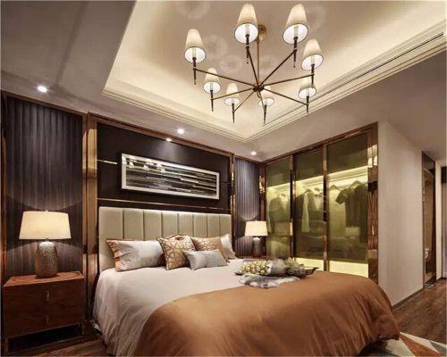 中式风格三居室卧室背景墙装修图片