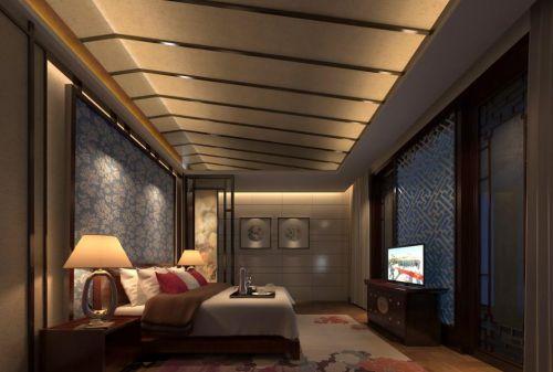 中式风格卧室石膏板吊顶设计效果图