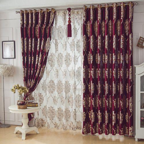 红色豪华中式烫花卧室窗帘效果图