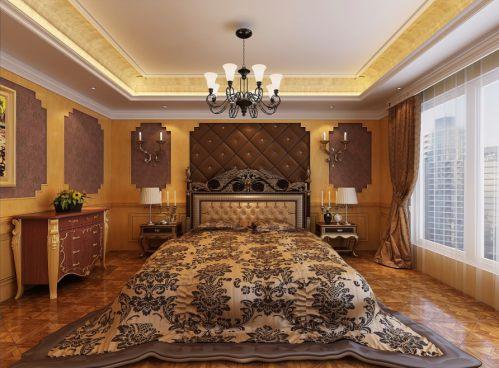 中式风格三居室卧室背景墙装修效果图