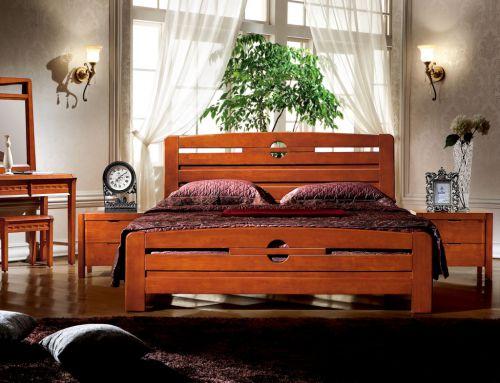 中式三居室实木卧室床头柜装修效果图