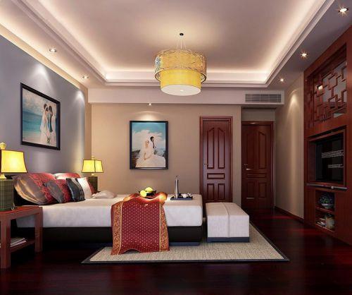 红木新中式风格卧室装修效果图赏析