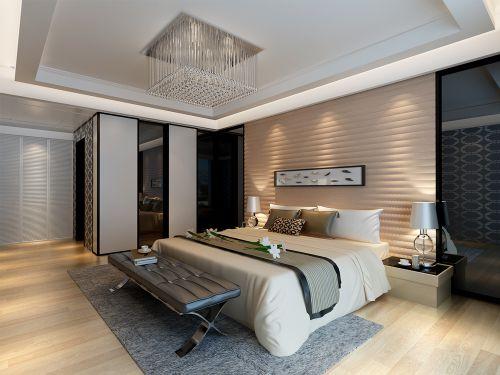 现代中式三居室卧室组合柜装修效果图大全