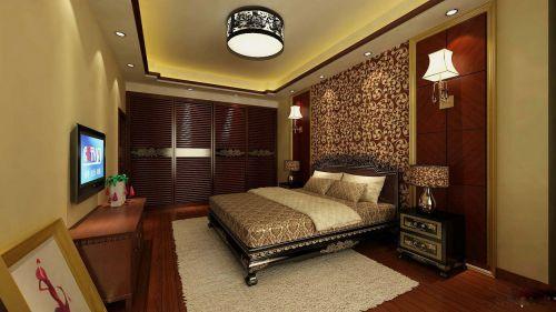 三居室中式风格素雅卧室吊灯效果图