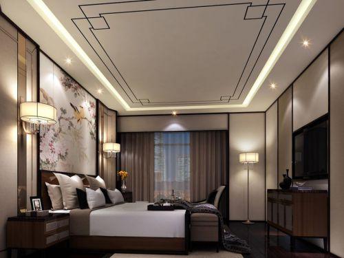 中式风格四居室卧室吊顶装修图片