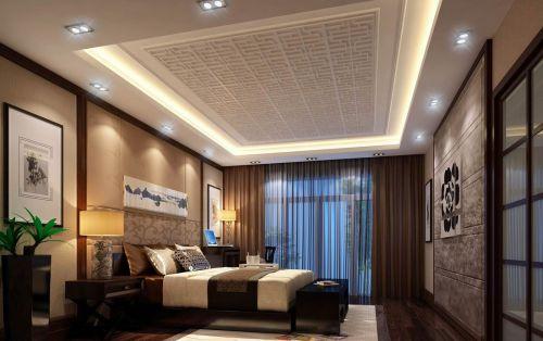 四居室咖啡色中式风格大气卧室床效果图