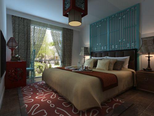 中式古典别墅卧室隔断装修效果图