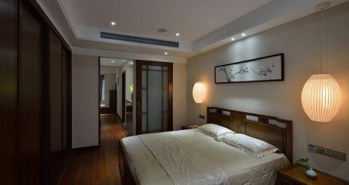96㎡白色中式风格卧室床装修效果图
