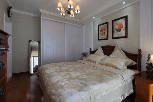 新中式风格卧室淡紫色衣柜装修设计图