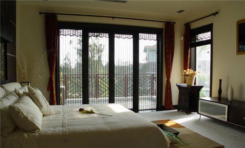 三居室咖啡色中式风格卧室飘窗效果图