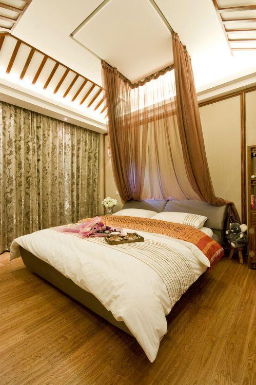 中式风格三居室卧室装修效果图大全