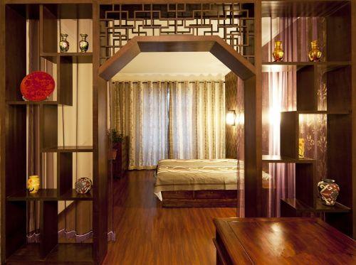 中式古典四居室卧室博古架装修效果图