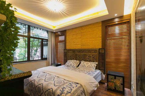 家装中式风格卧室床头背景墙效果图