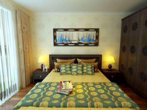 时尚中式风格卧室背景墙装修案例