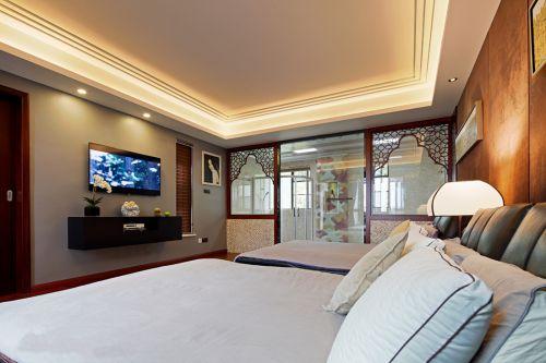 家装中式风格卧室隔断效果图