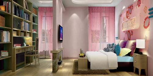 中式风格二居室卧室隔断装修图片