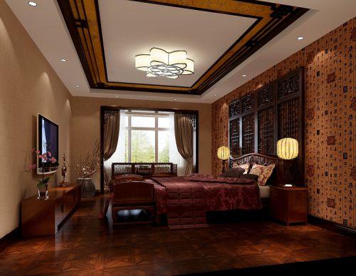 中式风格三居室卧室装修效果图