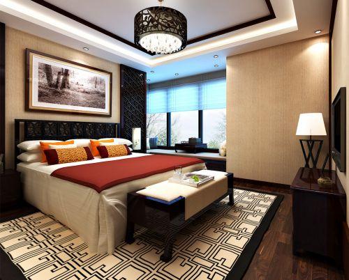 中式风格四居室卧室隔断装修效果图欣赏