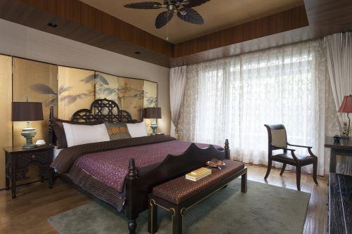 奢华中式风格别墅卧室窗帘效果图欣赏