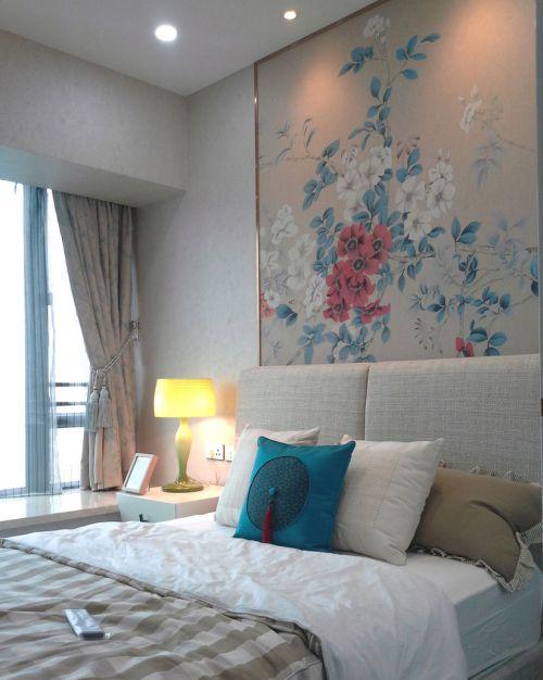 时尚中式风格卧室背景墙效果图欣赏