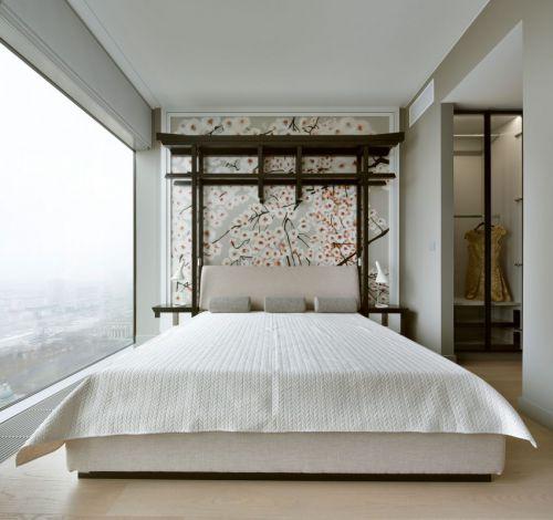 典雅新中式风格卧室背景墙装修图片