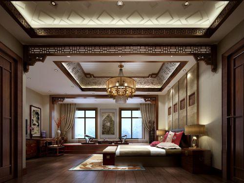 中式古典五居室卧室床装修图片