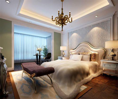 中式风格三居室卧室吊顶装修效果图