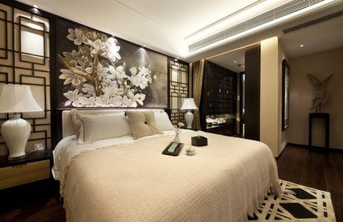 中式风格二居室卧室床头柜装修效果图