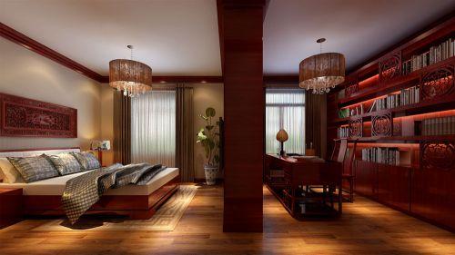 中式风格一居室卧室床装修图片