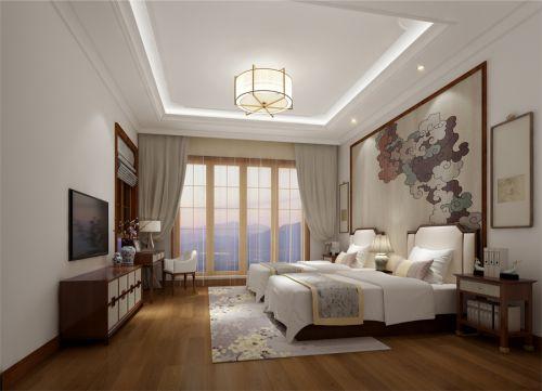 中式风格六居室卧室床头柜装修效果图