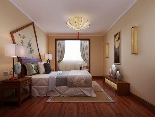 中式风格二居室卧室飘窗装修效果图欣赏