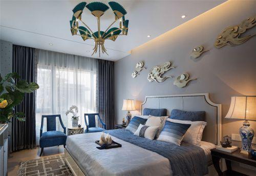 中式古典三居室卧室飘窗装修图片