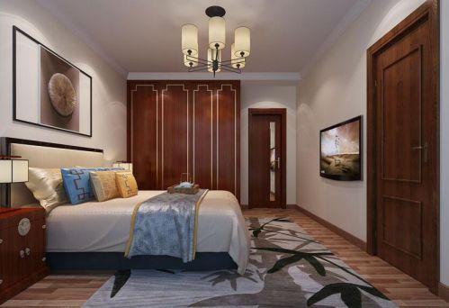 中式风格三居室卧室衣柜装修效果图欣赏