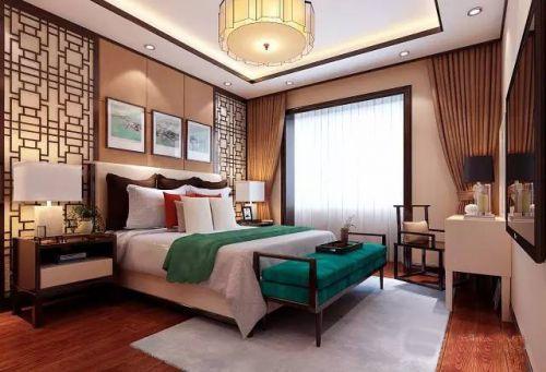 中式古典二居室卧室壁纸装修效果图欣赏
