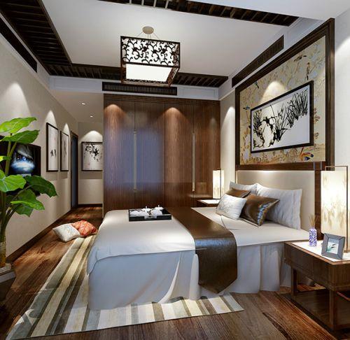 中式古典二居室卧室背景墙装修效果图欣赏
