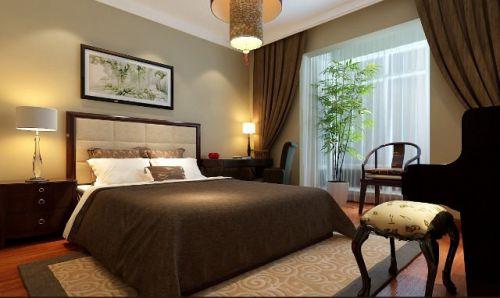 中式古典二居室卧室床装修效果图