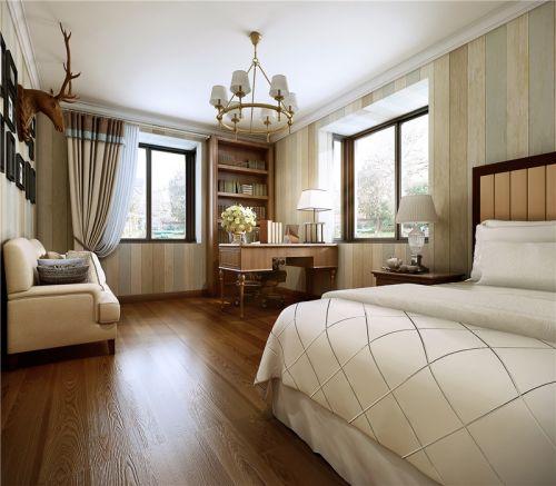 中式风格三居室卧室床装修效果图欣赏