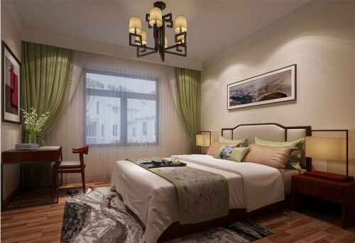 中式风格三居室卧室电视柜装修效果图