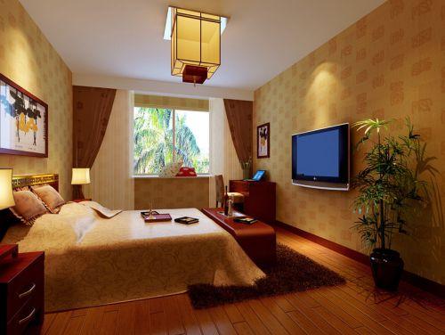 中式风格四居室卧室电视柜装修效果图
