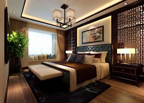 中式古典二居室卧室吊顶装修图片