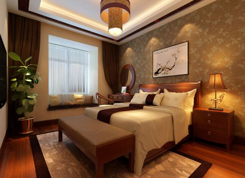 中式风格三居室卧室窗帘装修效果图大全