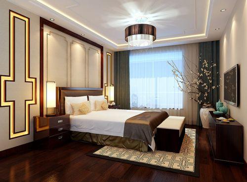 中式风格三居室卧室背景墙装修效果图欣赏