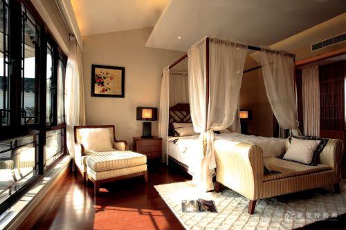 中式风格四居室卧室飘窗装修效果图大全