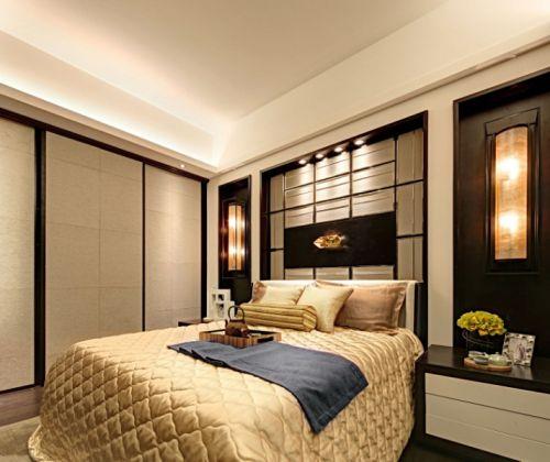 中式风格二居室卧室床装修效果图欣赏