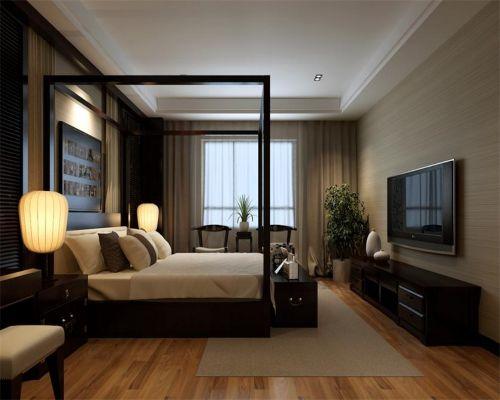 中式风格三居室卧室电视柜装修效果图欣赏