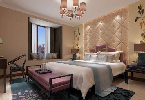 中式风格三居室卧室床头柜装修效果图