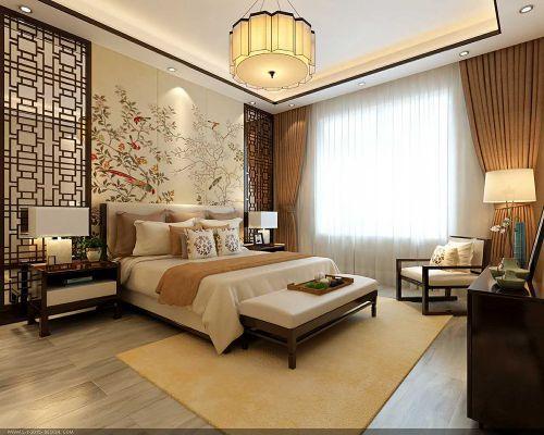 新中式风格三居室卧室壁纸装修效果图大全