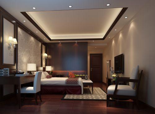中式古典四居室卧室组合柜装修图片